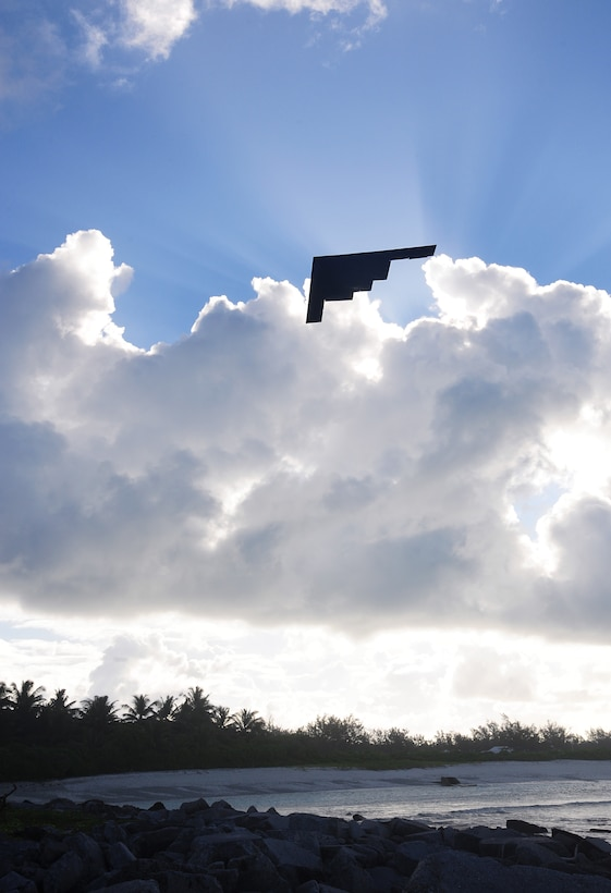 A B-2 Spirit, deployed from Whiteman Air Force Base, Mo., takes off March 27, 2016, in the U.S. Pacific Command area of operations. Bomber operations provide a visible demonstration of the U.S. Air Force's ability to project power globally and respond to any potential crisis or challenge. (U.S. Air Force photo/Senior Airman Joel Pfiester)