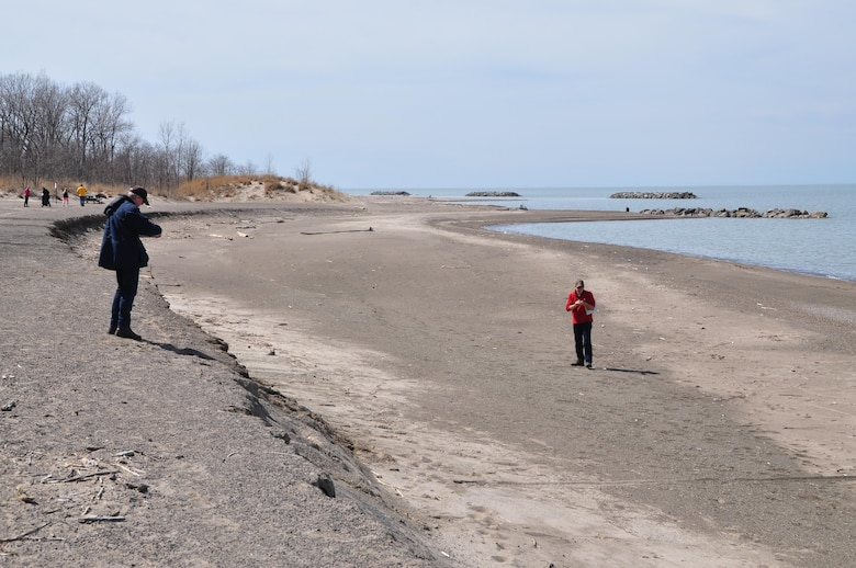 Presque Isle partnership inspect shoreline conditions during the annual Presque Isle Beach Walk, March 30, 2016