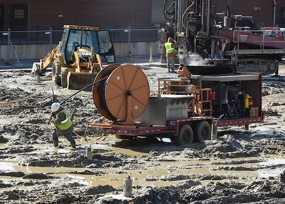 Contractors are installing 252 geothermal wells to heat and cool the new Defense Logistics Agency Aviation Operations Center Feb. 17, 2016. The first phase of the three-phased, five-story, 252,000 square-feet building is scheduled for occupancy in late 2018 or early 2019.