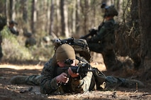 Marines Raiders from Company F, 2d Marine Raider Battalion, led a simulated partner nation force on ground combat patrolling tactics, techniques and procedures during a Company Collective Exercise in Fort Jackson, S.C., Feb. 28, 2016.