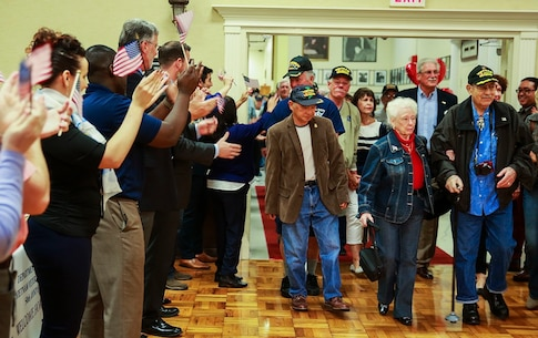 SAN DIEGO – Supporters cheer as veterans of the Vietnam War enter the room at the Scottish Rite Event Center in San Diego March 29, 2016. The center hosted a Vietnam War 50th anniversary commemoration as part of the presidential proclamation of commemoration for Vietnam veterans, which extends from Memorial Day 2012, through Veterans Day 2025. Hundreds of veterans attended the event where dozens of organizations, such as the San Diego and San Marcos Vet Centers, came to show their support and present resources available to veterans. According to Karen Schoenfeld-Smith, the team leader for the San Diego Vet Center, being in war changed these veterans and after the less than warm welcome they received upon their return, it is important as a community to show that their sacrifice is appreciated. (U.S. Marine Corps photo by Lance Cpl. Caitlin Bevel/RELEASED)