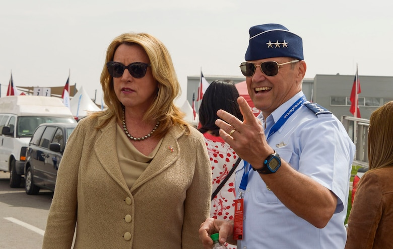 Deborah Lee James, Secretary of the Air Force, and U.S. Air Force Lt. Gen. Chris Nowland, 12th Air Force (Air Forces Southern) commander, visit the F-22 Raptor static display during the 2016 FIDAE Air and Space Trade Show in Santiago, Chile, March 29, 2016. During the FIDAE Air and Space Trade Show, U.S. Airmen participated in in several subject matter expert exchanges with their Chilean counterparts and also hosted static displays and aerial demonstrations to support the air show.  (U.S. Air Force photo by Tech. Sgt. Heather Redman/Released)
