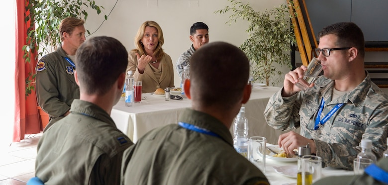 Deborah Lee James, Secretary of the Air Force, answers questions during a lunch time meet and greet with the U.S. Airmen participating in the 2016 FIDAE Air and Space Trade Show in Santiago, Chile, March 29, 2016. During the FIDAE Air and Space Trade Show, U.S. Airmen participated in in several subject matter expert exchanges with their Chilean counterparts and also hosted static displays and aerial demonstrations to support the air show.  (U.S. Air Force photo by Tech. Sgt. Heather Redman/Released)