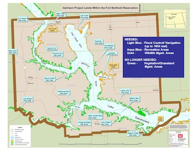 This map depicts lands still needed by the Garrison Project; in light blue, below 1,854 mean sea level elevation; in aqua blue, designated recreation areas; in gold, designated for wildlife management areas; and in green, lands for no longer needed for the construction, maintenance and operation of the Garrison Project that may undergo a jurisdictional transfer to the Department of the Interior to be held in trust for the Three Affiliated Tribes (Mandan, Hidatsa, Arikara Nation).