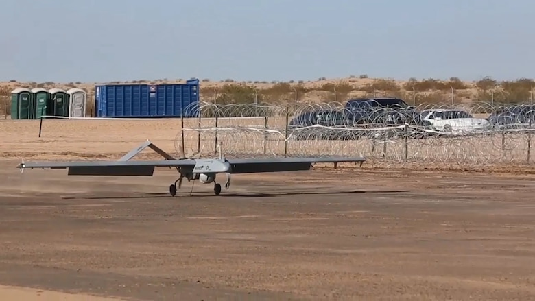 An RQ-7Bv2 Shadow lands after its first flight at the Cannon Air Defense Complex in Yuma, Ariz., March 26. The Marines with Marine Wing Support Squadron (MWSS) 371 and MWSS-274 supported Marine Unmanned Aerial Vehicle Squadron (VMU) 1 by building a runway in preparation for the first flight of the Shadow at the site. (U.S. Marine Corps photo by Sgt. Travis Gershaneck /Released)