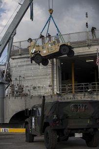 U.S. Marines and Sailors off-load an M998 High Mobility Multipurpose Wheeled Vehicle (HMMWV) from the United States Naval Ship Millinocket as they arrive in Subic Bay, Philippines in order to participate in Balikatan 2016 (BK 16) on March 30, 2016.  The purpose of BK 16 is to strengthen interoperability and partner-nation capabilities for the planning and execution of military operations, and advance regional security operations.