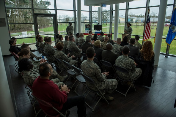 Members of the 52nd Fighter Wing attend the 52nd Medical Group/Landstuhl Regional Medical Center Telehealth ribbon cutting ceremony inside the 52nd MDG clinic April 1, 2016, at Spangdahlem Air Base, Germany. The Telehealth program will provide real-time video teleconference capabilities to patients from Spangdahlem Air Base and LRMC. (U.S. Air Force photo by Senior Airman Rusty Frank/Released)