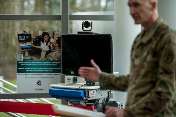 A Telehealth cart remains on display during the 52nd Medical Group/Landstuhl Regional Medical Center Telehealth ribbon cutting ceremony inside the 52nd MDG clinic April 1, 2016, at Spangdahlem Air Base, Germany. The Telehealth program brings about a new way for patients from the 52nd MDG to receive consultations from LRMC. (U.S. Air Force photo by Senior Airman Rusty Frank/Released)