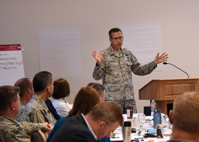 Col. James Planeaux, SMC Advanced Systems and Development Directorate, talks about SMC's dynamic environment at the SMC Leadership Offsite, April 1. (U.S. Air Force photo/Sarah Corrice)