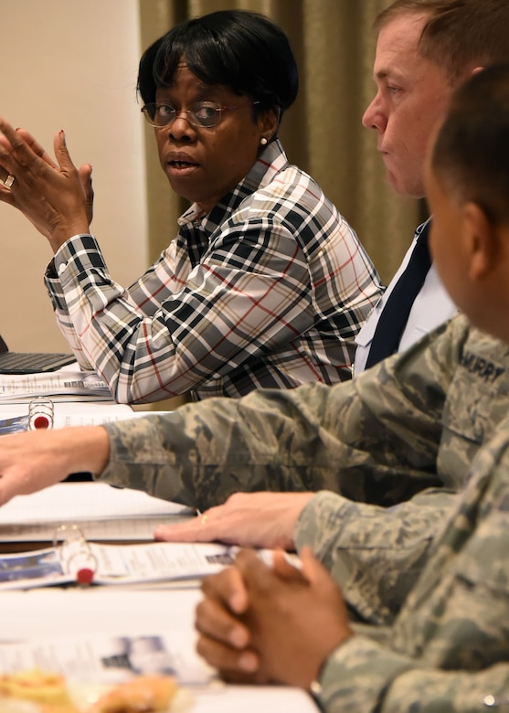 Dr. Wanda Austin, The Aerospace Corporation's president and CEO, participates in the discussion at the SMC Leadership Offsite, April 1. (U.S. Air Force photo/Sarah Corrice)