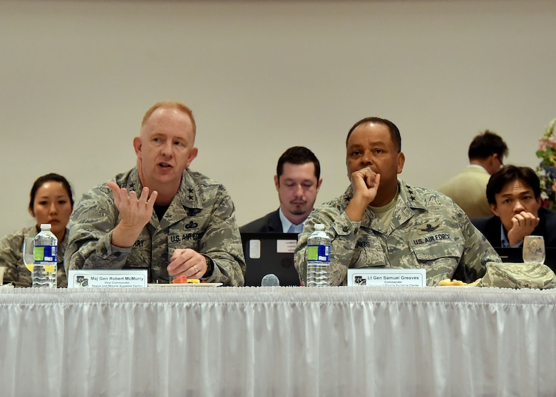 Maj. Gen. Robert McMurry, SMC vice commander, makes a point during the discussion at the SMC Leadership Offsite, April 1. (U.S. Air Force photo/Sarah Corrice)