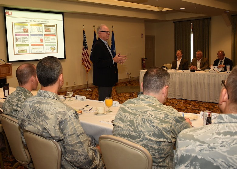 Dr. Stan Rosen, professor of acquisition management at Defense Acquisition University, facilitates the SMC Leadership Offsite held at Fort MacArthur, April 1. (U.S. Air Force photo/Sarah Corrice)