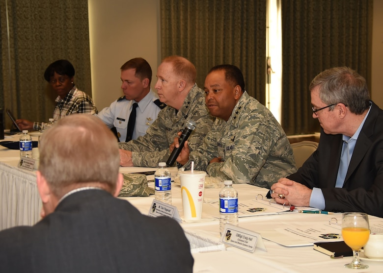 Lt. Gen. Samuel Greaves, SMC commander and Air Force program executive officer for space, addresses senior leadership at the SMC Leadership Offsite, April 1. (U.S. Air Force photo/Sarah Corrice)
