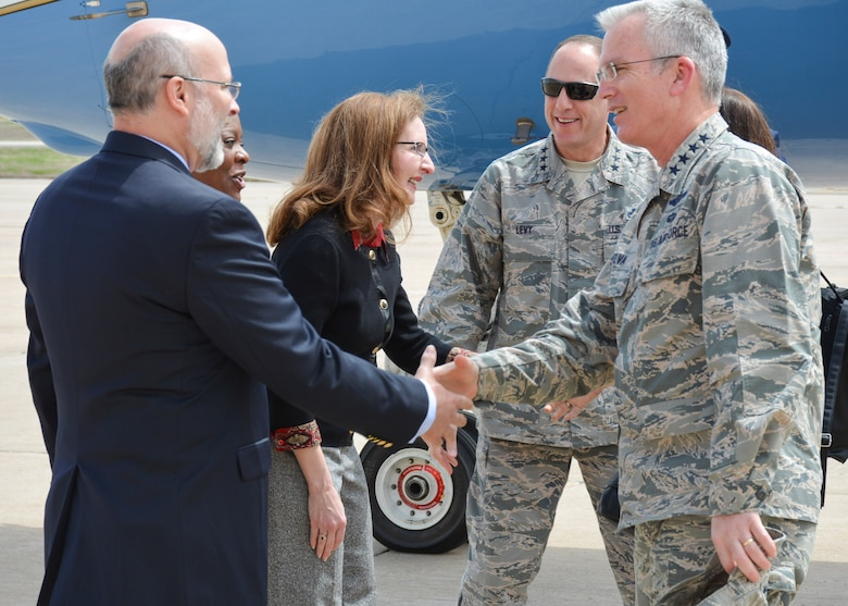 Gen. Paul J. Selva, Vice Chairman of the Joint Chiefs of Staff, and his wife, Mrs. Ricki Selva, are welcomed to Tinker Air Force Base today by Lt. Gen. Lee K. Levy II, Air Force Sustainment Center commander, his wife Mrs. Rhonda Levy, center, Col. Stephanie Wilson, 72 Air Base Wing commander, and her husband Scott. General Selva and his wife are here to learn about the AFSC and Tinker's contribution to the nation's strategic nuclear deterrence and attend the Tinker Community Dining Out, where the Vice Chairman will serve as the featured speaker. (U.S. Air Force photo by Darren D. Heusel)