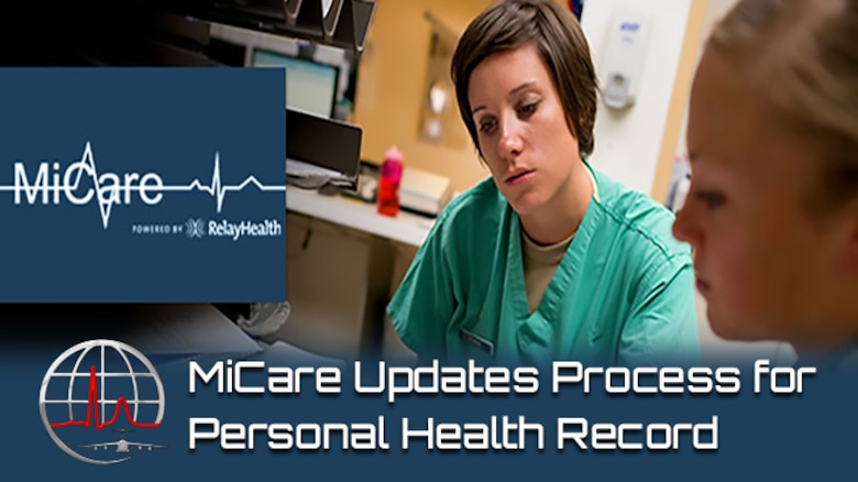 The Air Force's secure patient portal, MiCare, is scheduled to make changes to the personal health record process March 28. Automatic updates to MiCare PHR will be discontinued; however, electronic health records will continue to be available through the Blue Button feature on TRICARE Online. (Courtesy graphic)