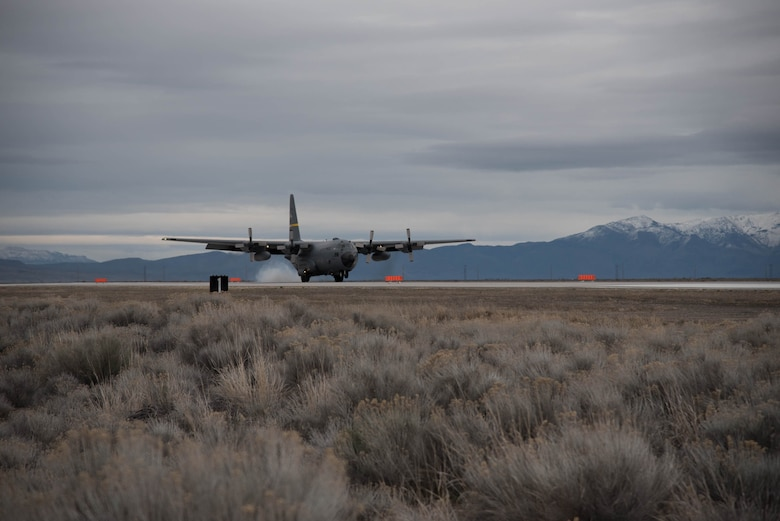 A Wyoming Air National Guard C-130 delivers cargo to Amedee Army Airfield, Calif., in support of Operation Lumberjack on March 8, 2016. The Kentucky Air National Guard's 123rd Contingency Response Group is working in conjunction with the U.S. Army's 688th Rapid Port Opening Element and a team from the Defense Logistics Agency to operate Joint Task Force-Port Opening Sangala during the week-long exercise. The objective of the JTF-PO is to establish an aerial port of debarkation, provide initial distribution capability and set up warehousing for distribution beyond a forward node. (Kentucky Air National Guard photo by 1st Lt. James Killen)