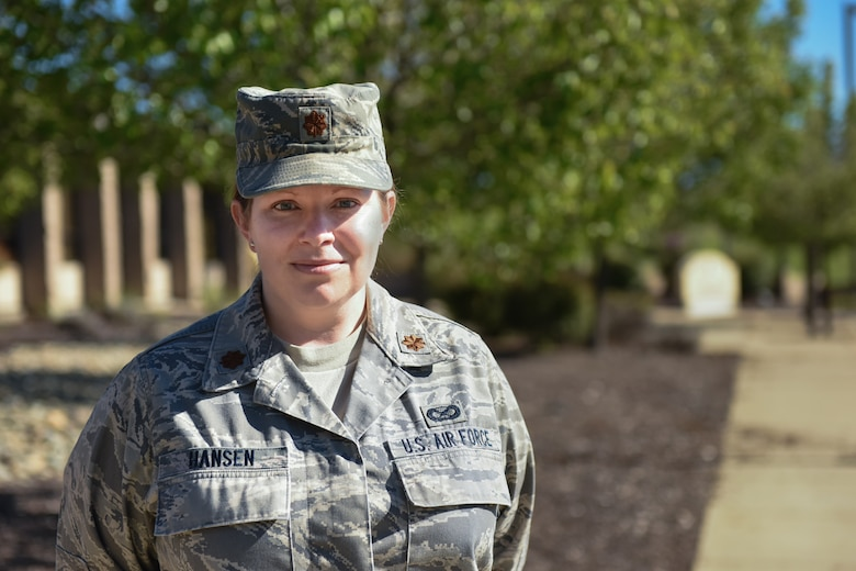 Maj. Amy Hansen, 940th Wing Inspector General, poses for a photo March 25, 2016 at Beale Air Force Base, California. As a reservist, Hansen also works full-time as the Vice President of Pediatric Services for Easter Seals Superior California. (U.S. Air Force Photo/ 1st Lt Siobhan Hazelwood)