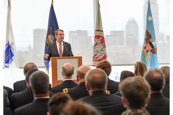 Defense Secretary Ash Carter announces the Defense Department will partner with Advanced Functional Fabrics of America to establish a new manufacturing innovation institute while speaking at the Massachusetts Institute of Technology in Cambridge, Mass., April 1, 2016. DoD photo by Army Sgt. 1st Class Clydell Kinchen