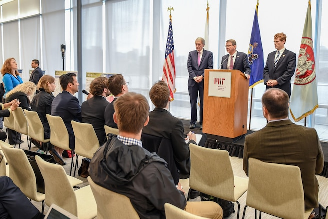 Defense Secretary Ash Carter answers questions while speaking at the Massachusetts Institute of Technology in Cambridge, Mass., April 1, 2016. DoD photo by Army Sgt. 1st Class Clydell Kinchen