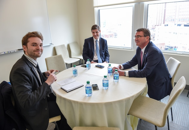 Defense Secretary Ash Carter, right, along with Pentagon Press Secretary Peter Cook, center, meet with Mr. Robert Hackett to conduct an interview for Fortune Magazine, April 1, 2016. DoD photo by  Army Sgt. 1st Class Clydell Kinchen