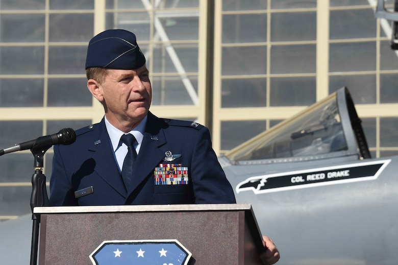 U.S. Air Force Col. Reed Drake, 144th Fighter Wing commander, speaks at the 144th FW change of command ceremony at the Fresno Air National Guard Base April 2, 2016. Drake assumed command from U.S. Air Force Brig. Gen. Clay Garrison. (U.S. Air National Guard photo by Senior Airman Klynne Pearl Serrano)