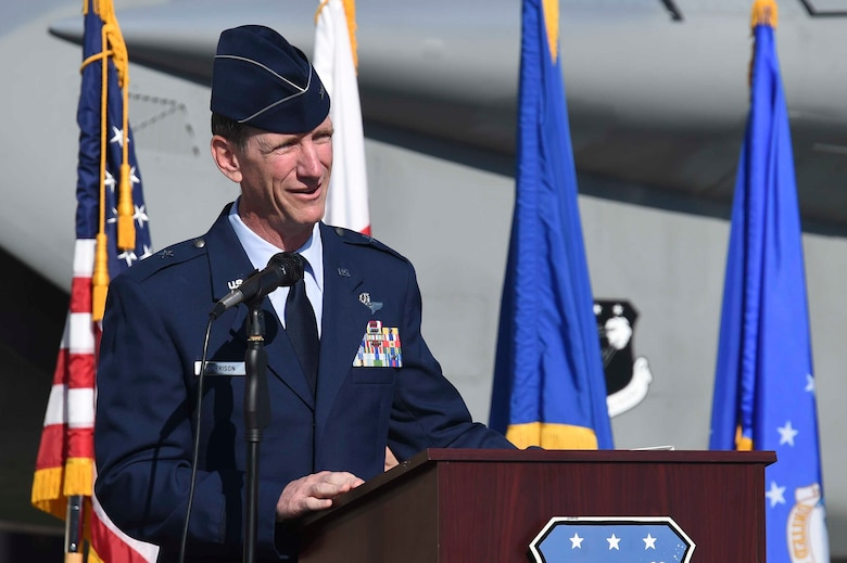 U.S. Air Force Brig. Gen. Clay Garrison, 144th Fighter Wing outgoing commander, speaks at the 144th FW change of command ceremony at the Fresno Air National Guard Base April 2, 2016. Garrison relinquished command to U.S. Air Force Col. Reed Drake. (U.S. Air National Guard photo by Senior Airman Klynne Pearl Serrano)