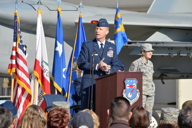U.S. Air Force Maj. Gen. Jon Kelk, commander, California Air National Guard, speaks during the 144th Fighter Wing change of command ceremony at the Fresno Air National Guard Base April 2, 2016. U.S. Air Force Col. Reed Drake assumed command of the 144th FW from U.S. Air Force Brig. Gen. Clay Garrison. (U.S. Air National Guard photo by Tech. Sgt. Charles Vaughn)