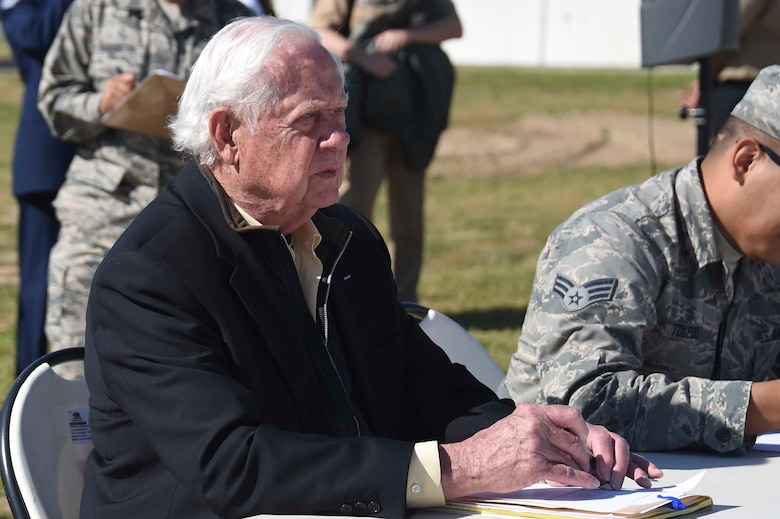 U.S. Air Force Brig. Gen. (ret.) Robert Earthquake Titus, judges a drill competition at the Fresno Air National Guard Base March 31, 2016. The drill competition included Junior Reserve Officer Training Corps cadets from Fresno and surrounding communities. (U.S. Air National Guard photo by Senior Airman Klynne Pearl Serrano)