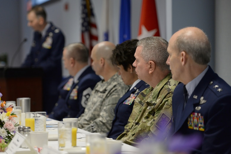 Senior military leaders listen to Col. James Ryan, 157th Air Refueling Wing commander speak during the New Hampshire Air National Guard Commander's Annual Prayer Breakfast, Pease Air National Guard Base, N.H., April 3, 2016.  The guest speaker for the event was U.S. Army Chaplain, Brig. Gen. David E. Graetz, assistant chief of chaplains, Army National Guard. (U.S. Air National Guard photo by Staff Sgt. Curtis J. Lenz)