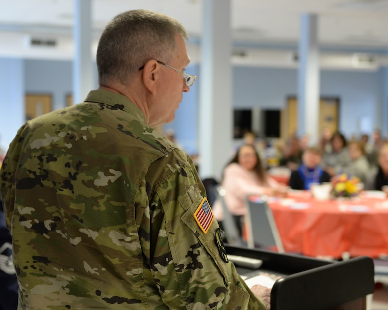 U.S. Army Chaplain, Brig. Gen. David E. Graetz,  assistant chief of chaplains, Army National Guardspeaks to the audience during the New Hampshire Air National Guard Commander's Annual Prayer Breakfast, Pease Air National Guard Base, N.H., April 3, 2016.  (U.S. Air National Guard photo by Staff Sgt. Curtis J. Lenz)