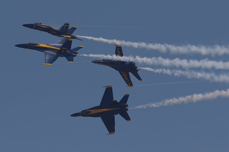 Flyover by the Navy Blue Angels F-18's at the Southernmost Air Spectacular at Naval Air Station Key West Florida. (Photo by Sgt Michael Lopez, USMC)