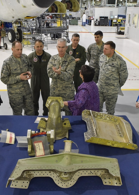 Gen. Paul J. Selva, the vice chairman of the Joint Chiefs of Staff, center foreground, receives a briefing by Theresa Farris, the 564th Aircraft Maintenance Squadron director, on how the Oklahoma City Air Logistics Complex supports the nuclear mission to include the KC-135 Stratotanker, B-52 Stratofortress, B-2 Spirit, commodities, software and engines at Tinker Air Force Base, Okla., April 1, 2016. (U.S. Air Force photo/Greg L. Davis)