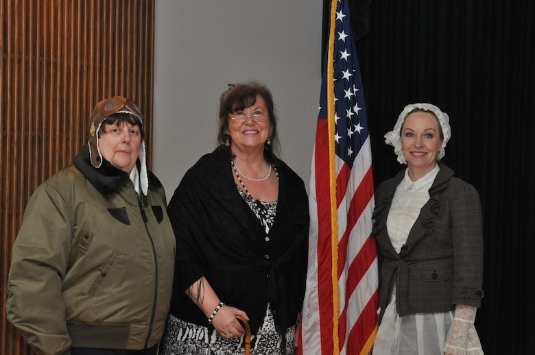 Jacqueline Cochran, Eleanor Roosevelt and Florence Nightingale participated in the Women's History Month Luncheon March 23 at the Wright-Patt Club. Portraying the female icons were Linda Canter, Dinah Luneke and Gina Martinelli, (from left), all from the Air Force Life Cycle Management Center and members of a Wright-Patterson AFB Toastmasters Club. (U.S. Air Force photo/Gina Marie Giardina)