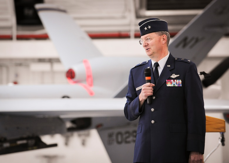 Maj. Gen. Anthony German, the commander of the New York Air National Guard, speaks to the men and women of the 174th Attack Wing prior to the official change of command ceremony at Hancock Field Air National Guard Base, April 3. (U.S. Air National Guard photo by Tech. Sgt. Jeremy Call/Released)