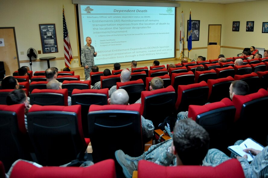 Chief Master Sgt. Kevin Newsom, 51st Aircraft Maintenance Squadron first sergeant, briefs about death notifications at the first sergeant symposium at Osan Air Base, Republic of Korea, March 30, 2016. The four-day symposium provided perspective and knowledge of first sergeant responsibilities like counseling, administrative reprimands and death notifications. (U.S. Air force photo by Staff Sgt. Jonathan Steffen/Released)