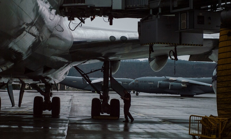 A C-17 Globemaster III carrying families, who were part of the initial departures from Turkey, taxies across the flightline at Ramstein Air Base, Germany, March 30, 2016. The decision for dependents to depart Turkey allows for the deliberate, safe return of family members from these areas due to continued security concerns in the region. (U.S. Air Force photo/Staff Sgt. Sara Keller)