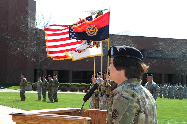 Brig. Gen. Miyako Schanely, the incoming commander of the 102nd Training Division (Maneuver Support), delivers her first address as commander during Change of Command Ceremony at Ft. Leonard Wood, Mo., March 3, 2016.  The 102nd trains engineers, military police, and CBRN (chemical, biological, radiological, and nuclear) soldiers across the United States.