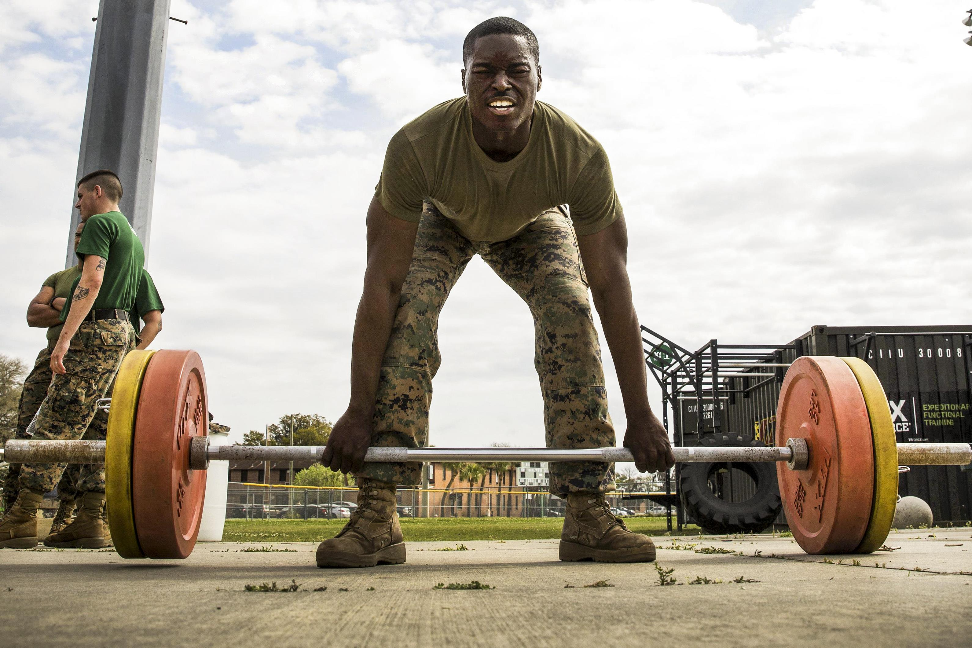 on the frontlines on patrol marine corps sgt donovan robinson participates in the dead lifts event during the commanding general s fitness cup challenge at marine corps recruit depot