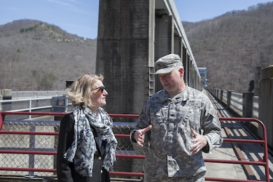 Senator Shelly Moore Capito is briefed by Colonel Secrist as she tours Bluestone Dam in Hinton, W. Va. Senator Capito was interested in the status of the Dam Safety Assurance Project currently on-going at Bluestone. She was able to see firsthand the great work of the Bluestone Team as well as get the opportunity to gain a greater appreciation of the magnitude of the dam.