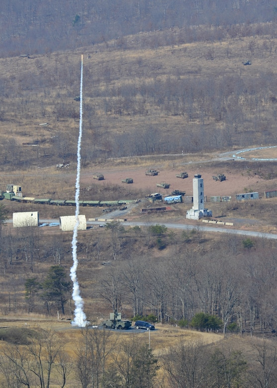A training surface-to-air missile, or smokey SAM, is shot from a Man-Portable Aircraft Survivability Trainer system at a C-17A Globemaster III from Dover Air Force Base during a training mission March 24, 2016, at the Bollen Live-Fire Range Complex on Fort Indiantown Gap, Pa. A total of eight smokey SAMs were shot at the C-17 to test the aircraft's electronic countermeasure systems. (U.S. Air Force photo/Senior Airman William Johnson)