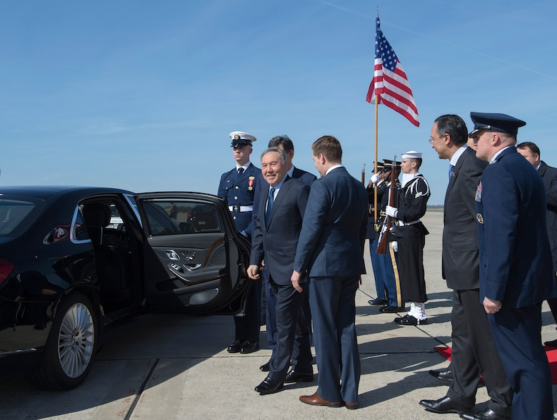 Nursultan Nazarbayev, President of the Republic of Kazakhstan, prepares to depart after arriving at Joint Base Andrews flightline, March 30, 2016. He arrived for the 2016 Nuclear Security Summit held in Washington, D.C. The summit provides a forum for leaders to reinforce commitments to securing nuclear materials. (U.S. Air Force photo by Senior Airman Nesha Humes/RELEASED)