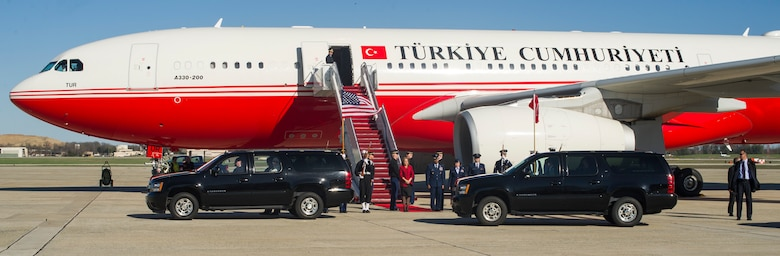 Joint Base Andrews members standby as the Republic of Turkey President departs the airfield here, March 29, 2016. He arrived for the 2016 Nuclear Security Summit held in Washington, D.C. The summit provides a forum for leaders to reinforce commitments to securing nuclear materials. (U.S. Air Force photo by Senior Airman Ryan J. Sonnier/RELEASED)