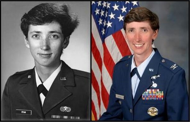 A side by side photo of then - Lt. Loralee Ryan, when she served at SMC and now - Col. Loralee Manas who is currently assigned to MDA. (Air Force photo)