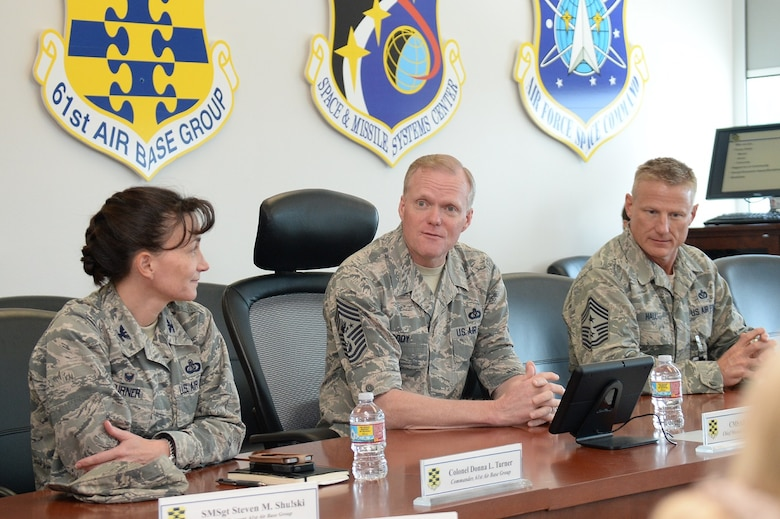 Chief Master Sgt. of the Air Force James A. Cody (center) fields questions from Col. Donna Turner, 61st Air Base Group commander and Chief Master Sgt. Craig Hall, Space and Missile Systems Center command chief, during a visit to Los Angeles Air Force Base in El Segundo, Calif., March 9-11, 2016 to discuss the current state of the Air Force from an enlisted perspective. The CMSAF's visit offered active duty and civilian personnel a rare opportunity to directly address the service's senior enlisted leader regarding the issues facing today's Airmen. It also gave Chief Cody a chance to view the unique characteristics of Los Angeles AFB and the capabilities the Total Force offers to accomplish the SMC mission. (U.S. Air Force photo/Van De Ha)