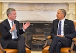 NATO Secretary General Jens Stoltenberg and President Barack Obama meet at the White House to discuss issues surrounding the alliance, April 4, 2016. (NATO photo)