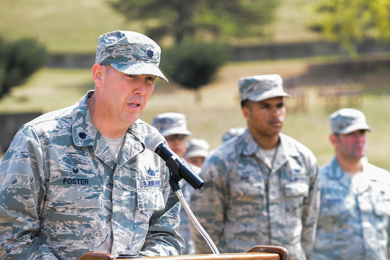Lt. Col. Timothy Foster, 51st Logistics Readiness Squadron commander, speaks during the 30th anniversary fuel tank explosion ceremony at Osan Air Base, Republic of Korea, April 5, 2016. The 51st Logistics Readiness Squadron performed the ceremony to honor the 16 service members who passed away. According to Foster, this incident marked the turn for extensive safety changes for the fuels career field across the Air Force. (U.S. Air Force photo by Senior Airman Dillian Bamman/Released)