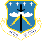 Shield of the 403rd Wing, Keesler Air Force Base, Miss. (U.S. Air Force illustration)