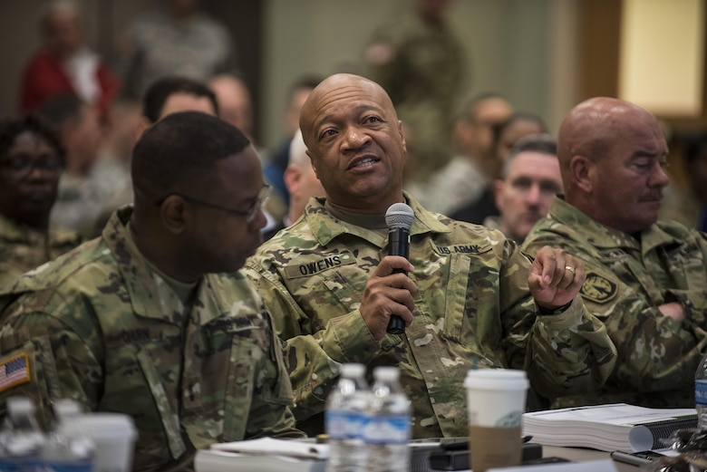 Command Sgt. Maj. Craig Owens, senior enlisted advisor for the 200th Military Police Command, asks a question to a presenter during a four-day workshop and Yearly Training Brief conference held in Columbus, Ohio, on April 2. During the event, battalion and brigade leaders worked to improve their readiness and briefed the commanding general and his command leadership on their units' status. (U.S. Army photo by Master Sgt. Michel Sauret)