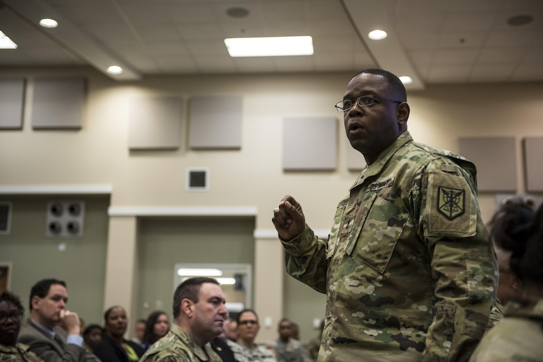 Maj. Gen. Phillip Churn, commanding general of the 200th Military Police Command, talks to his command staff, brigades and battalions leaders during a Yearly Training Brief conference held in Columbus, Ohio, April 2. During the event, battalion and brigade leaders worked to improve their readiness and briefed the commanding general and his command leadership on their units' status. (U.S. Army photo by Master Sgt. Michel Sauret)