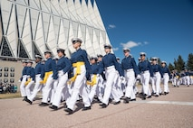 Cadets at the U.S. Air Force Academy march in formation past the Cadet Chapel during the Founder's Day Parade April 2, 2016. The parade is an annual event to celebrate the Academy's founding and heritage. (U.S. Air Force photo/Liz Copan)